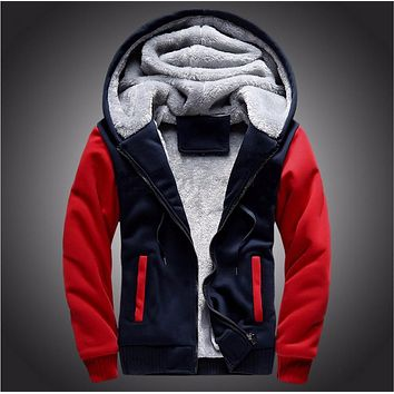 Winter Warm Men's Coats Hooded Jackets Tracksuits Outwear Patchwork Sportswear Thicken Wool Liner Mens Hoodies Sweatshirts 5xl