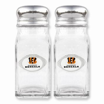 NFL Bengals Glass Salt and Pepper Shakers - Etching Personalized Gift Item