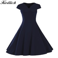 Kostlish Retro Summer Tunic Dress 2017 V-Neck Short Sleeve 50s 60s Vintage Dress Women Swing Rockabilly Party Dresses Plus Size