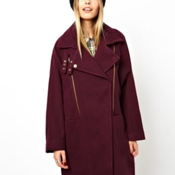 ASOS Textured Zip Detail Oversized Coat - Plum