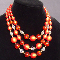 Beautiful Vintage Three Strand Orange Moonglow Lucite & AB Crystal Bead Choker
