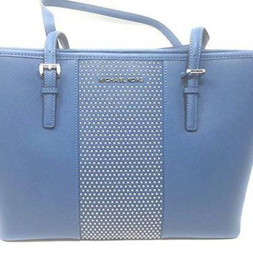 DCCKUG3 Michael Kors Women's Jet Set Travel Micro Stud Leather Carry All Tote Handbag Steel Blue