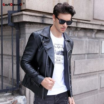 GustOmerD Brand 2017 Autumn Winter Casual Zipper PU Leather Jacket Motorcycle Leather Jacket Men Slim Fit Mens Jackets And Coats