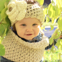 Made to Order crochet  baby/child headband ear warmer and cowl set. FREE SHIPPING