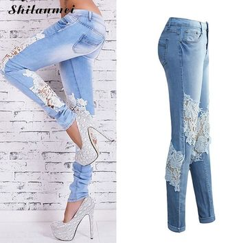 Lace Jeans Women 2017 Ladies Floral Embroidery Jeans Casual Hollow Out Womens Denim Skinny Pencil Pants Streetwear Clubwear XXL
