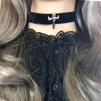 Necklace Choker Skull Cross Black Velvet Witch Choker, goth gothic wicca punk rock Jewelry Jewel steampunk BDSM