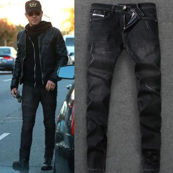 2017 Newly Desinger Men Jeans High Quality Straight Slim Fit Ripped Jeans For Men Casual Business Pants DSEL Brand Jeans Men
