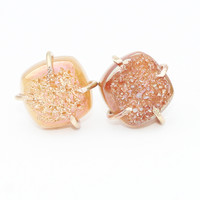 Beige AB Angel Druzy Square Claw Studs Earrings-Gold Filled