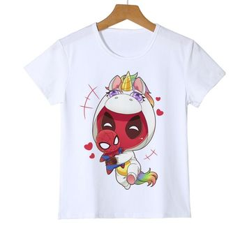 Funny unicorn Deadpool With Spiderman Printed T-Shirt For Kid Boy Novelty Girl Hipster Baby T shirt Tops Fashion Tees Y11-14