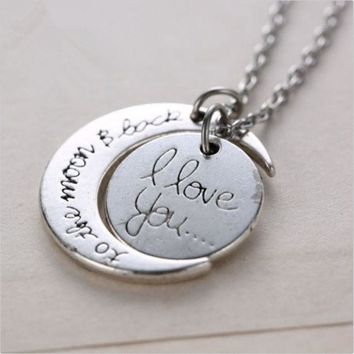 DCCKIX3 Silver White Tone 'I Love You To The Moon and Back' Pendant Necklace Jewelry Chain Choker  Hot Fashion = 1946566596
