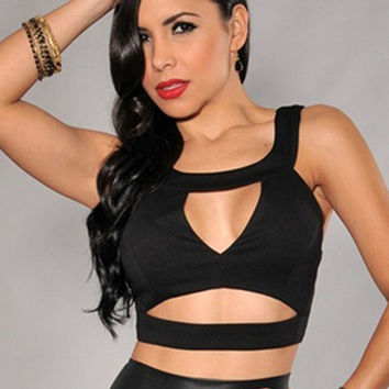 Black Sleeveless Strappy Cut-Out Cropped Top