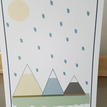 Woodland nursery art print unframed 8x10 mountain poster