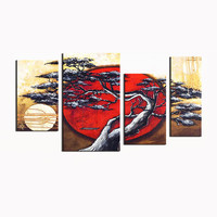 Tree of Japan Landscape Canvas Wall Art Oil Painting