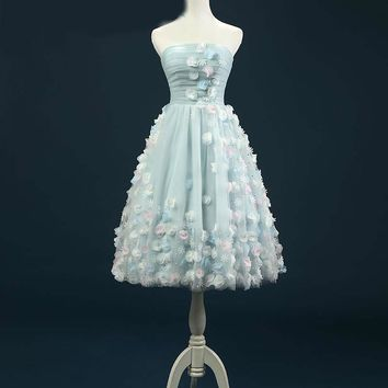 Sky Blue Short Dresses Hand made flowers A-Line Elegant Strapless Dresses For Party
