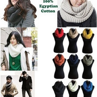 Unisex Women Winter Warm Infinity 2 Circle Cable Knit Cowl Neck Scarf Shawl