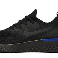 BRAND NEW Nike Epic React Flyknit Triple Black Racer Blue Mens Trainers ALL SIZE