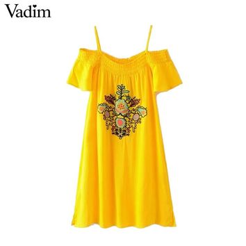 Women vintage floral embroidery spaghetti strap dress short sleeve ethnic casual dresses