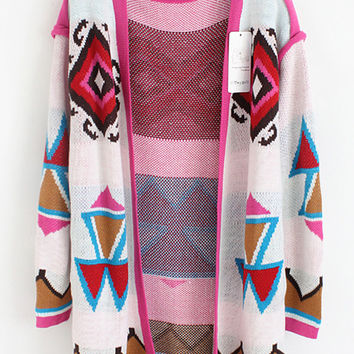 Multicolor Geometric Print Long Sleeve Coat