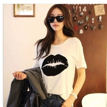 new Summer clothes women's big female short-sleeve T-shirt loose basic shirt tops = 1956810564