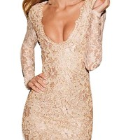 Sexy Womens Nude Lace Scalloped Deep V Backless Bodycon Cocktail Mini Dress (Nude)