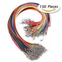 150 Pcs 18 Inches 1.5mm Waxed Necklace Cord with Lobster Clasp for Jewelry Making,Mixed Color