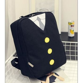 2017 new canvas printing shoulder bag animation 3D secondary element button cartoon backpack tie fashion elements