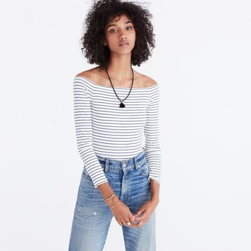 Off-the-Shoulder Bodysuit in Stripe : shopmadewell bodysuits | Madewell