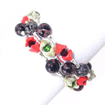 Red black brown jasper gemstone memory wire bracelet Green garnet Swarovski crystal Orange glass flower bead Silver plated braclet bangle