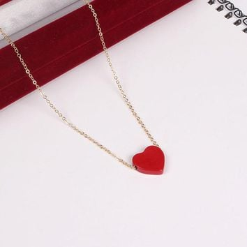 Japanese Style Enamel Red Hearts Love Texture Pendant Necklace Gold Color Chain Collarbone Necklace For Women Girls