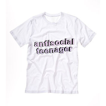 ANTISOCIAL TEENAGER T shirt Tshirt Tee Tumblr blanc unisexe fashion women pink white tee shirt tumblr graphic size S M L - 5sos one directio