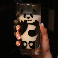 Stylish Transparent Panda Glass Cup for Milk Cute Home Decoration FREE SHIPPING