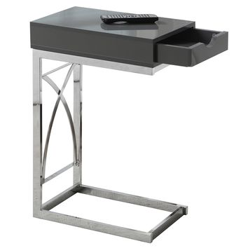 Accent Table - Chrome Metal / Glossy Grey With A Drawer