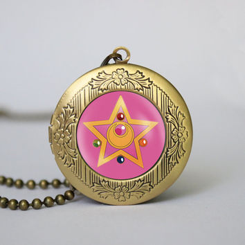 sailor moon crystal star locket anime vintage pendant locket necklace