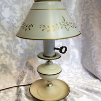 Vintage French Cream Gold & Brass Tole Painted Metal Table Desk Lamp