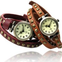 Vintage Style Leather Strap with Rivets Wrap Bracelet Watch by Roland on Zibbet