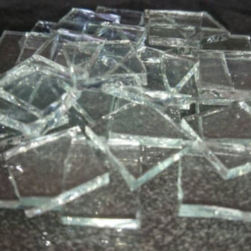 "Mosaic Tiles - Clear Crystal Stained Glass - Hand Cut Square - 1/2"" / 1cm"