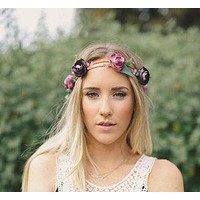 Purple Flower Crown Floral Hair Wreath Double Row Twine Dark & Medium Purple Head Piece Ties To Fit With Crochet Lace