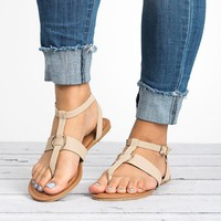 Strappy Thong Sandals - Beige