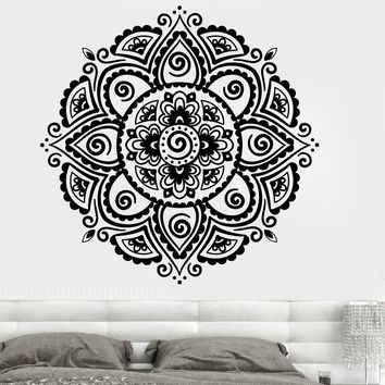 Vinyl Wall Decal Symbol Mandala Buddhism Hinduism Religion Lotus Stickers Unique Gift (700ig)