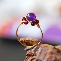 handmade crystal ring amethyst garnt  fashion fresh delicate manual ring
