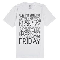 Happiness Friday-Unisex White T-Shirt
