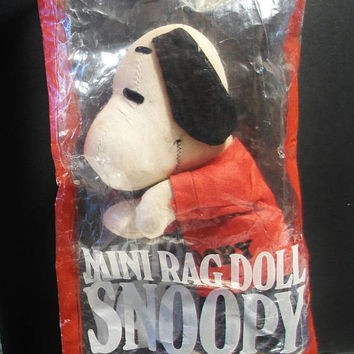 Mini Rag Doll Snoopy Vintage Peanuts Retro Toy Taiwan Collectible Comic Cartoon Character