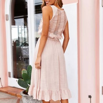 Women's new sexy hollow sleeveless strap tassel dress pink