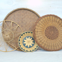 Large Flat Wicker Basket Tray, Woven Rattan Flat Wall Basket, Large Round Ottoman Coffee Table Tray