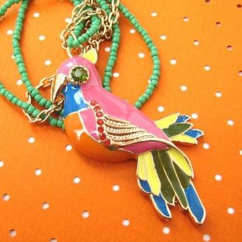 Parrot Bird Animal Pendant Colorful Necklace with Beaded Detail