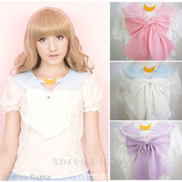 Apinko Design Sailor Moon Bubble Short Sleeve Bow Lace Shirt Top Free Ship SP140946 from SpreePicky