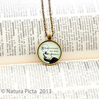 Elementary my Dear Watson antique bronze color necklace - 1 inch circle glass pendant included chain - by NATURA PICTA
