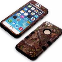 iPhone 6 Case, MOKOU Tree Camouflage Camo Hybrid Hard Soft Case Cover for iphone6 4.7Inch