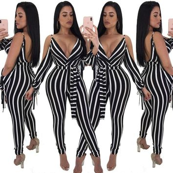 YINGLIZI 2019 new spring and summer hot women's deep v jumpsuit sexy strapless straps striped Siamese women's clothing
