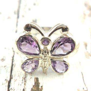 Amethyst .925 Sterling Silver Butterfly Ring - Size 7.90